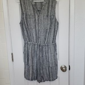 Grey and white striped short romper